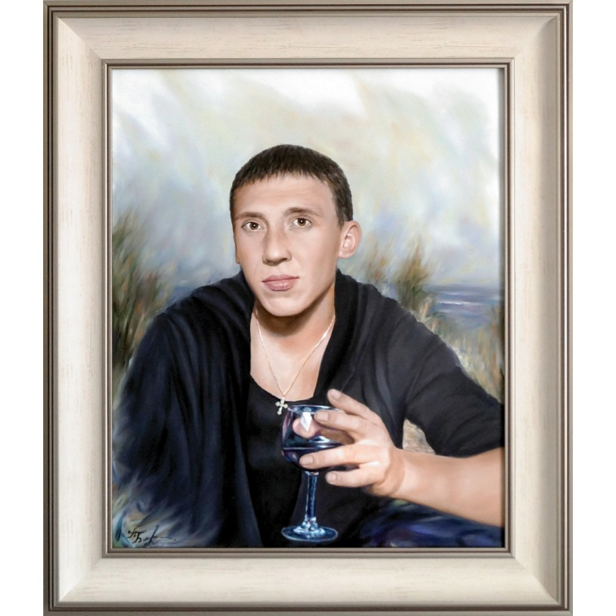 Портрет с черно-белой фотографии