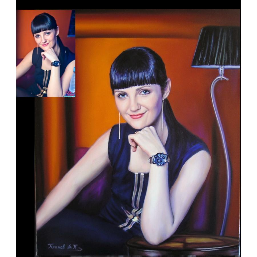 Портрет девушки маслом 38