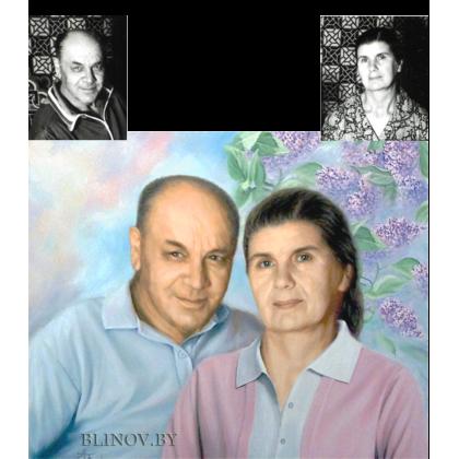 Семейный портрет с черно-белой фотографии 45